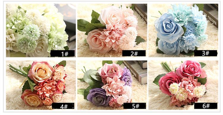 웨딩 장식 인공 PU 장미 꽃다발 가짜 PU 장미 달리아 국화 꽃 결혼식 꽃 홈 파티 장식