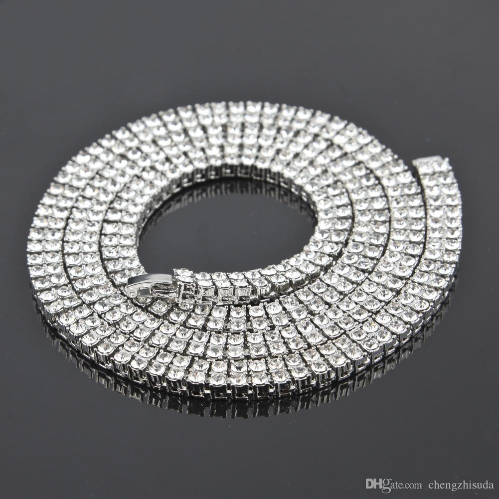 Hombres Oro Plata Negro 2 Fila diamante simulado Tenis collar de cadena de joyería de los hombres de 7 mm hip hop Hacia fuera helado collar punky