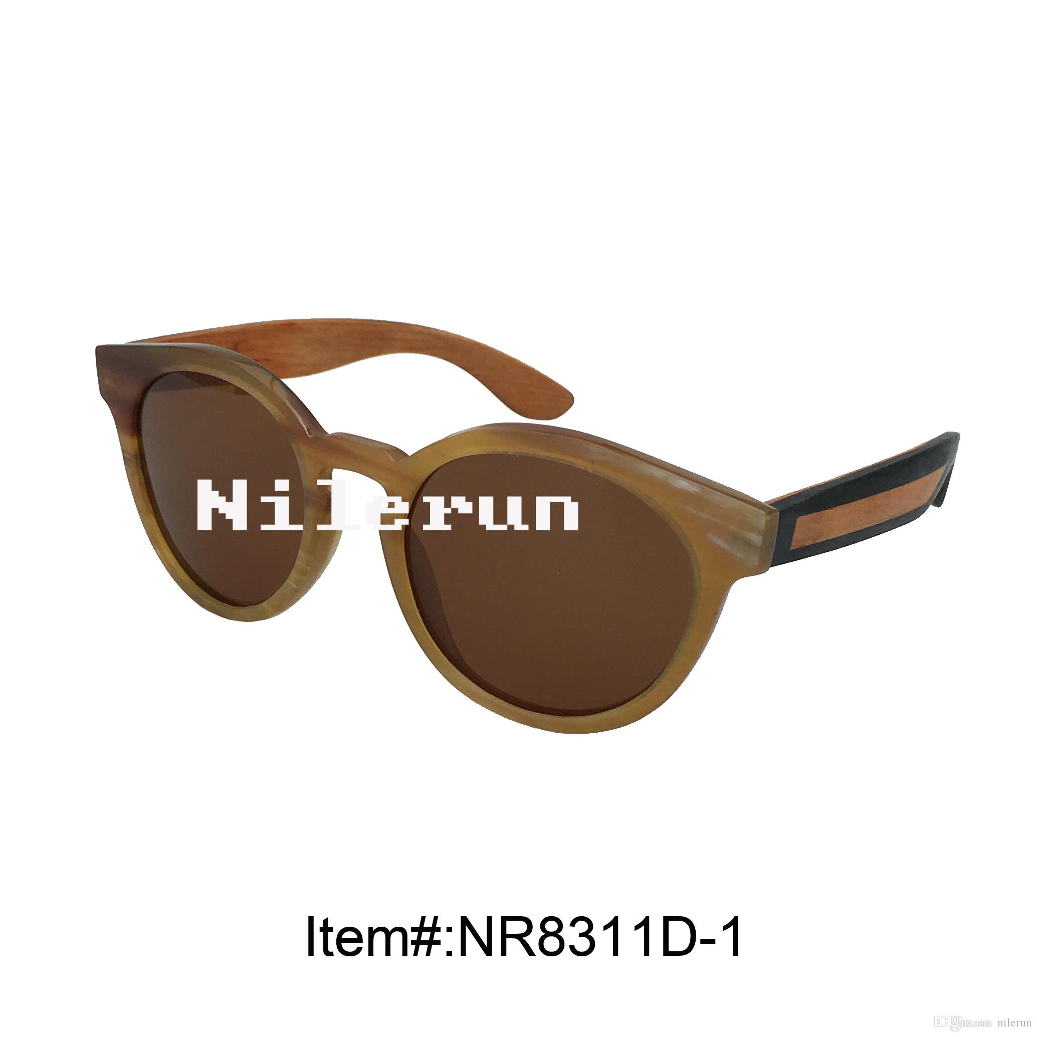 Großhandel Runde Braune Linsen Horn Rahmen Sonnenbrillen Mit ...