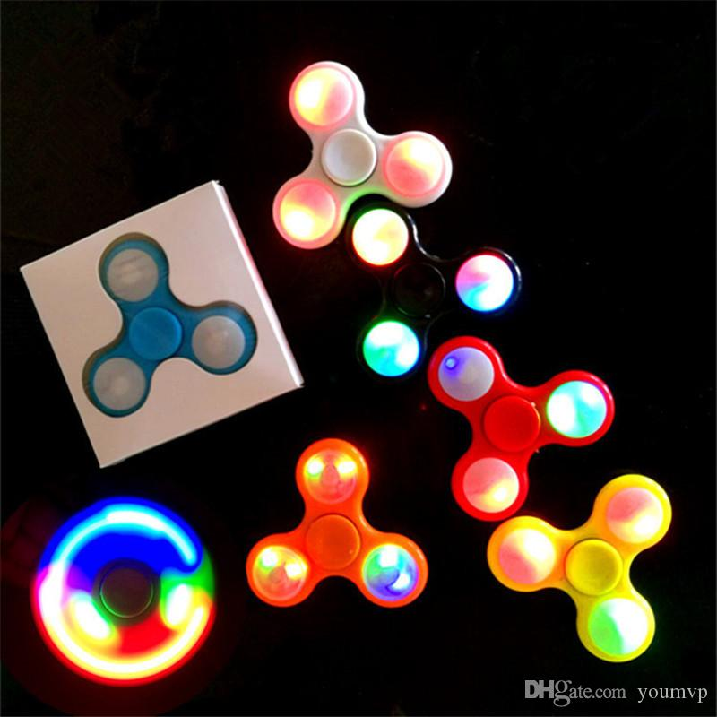 Finger Spinner Fidget Spinner LED Light ABS EDC Stress Wheel Hand Spinner  For Kids Autism ADHD Anxiety Stress Relief Focus toys