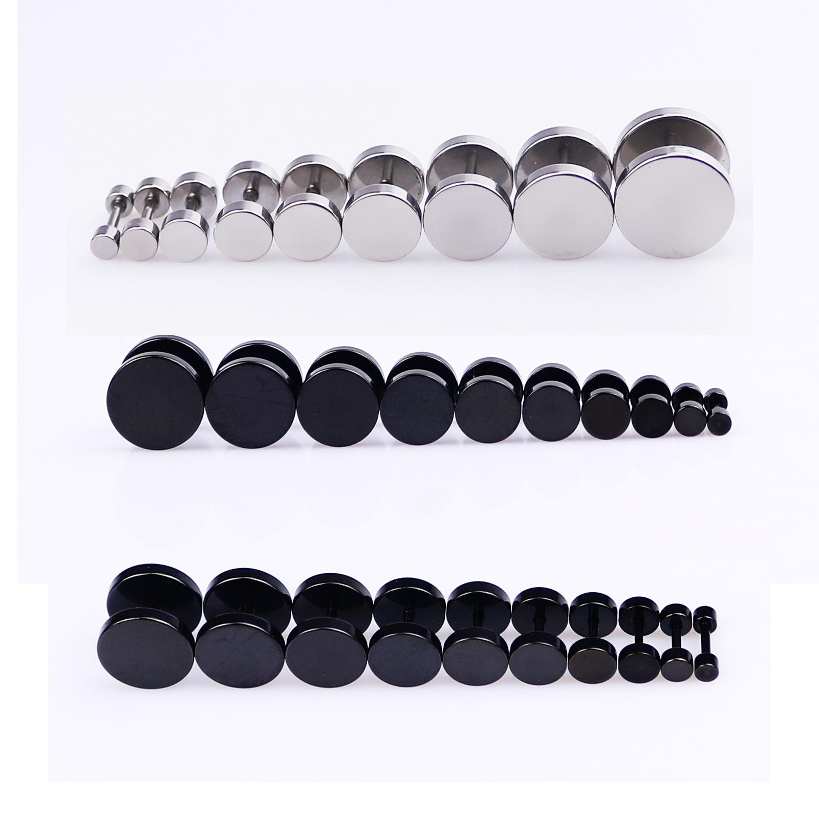 7e251ac2b929c Black Circular Titanium Barbell Stud Earrings for Man Dumbbell Double Sided  Earring Ear Piercing Mens Studs Punk Earing Men