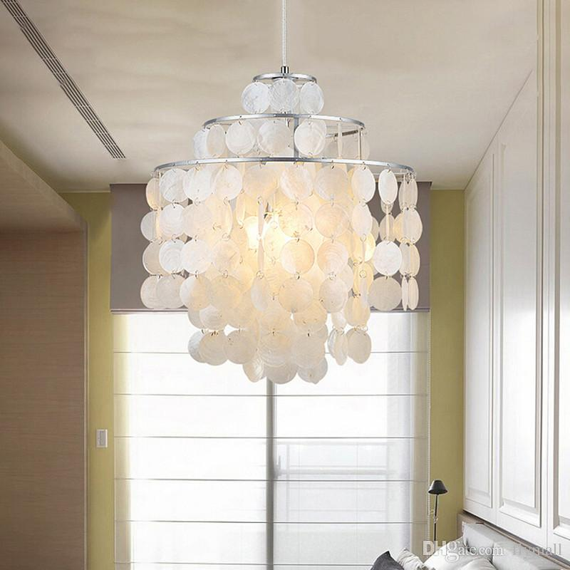 European Fashion Sea Shell Pendant Lights Bedroom Pendant Lamps 3/4/5  Layers Circle Seashell Pendant Lighting Restaurant Light Chandelier Modern  Pendant ...