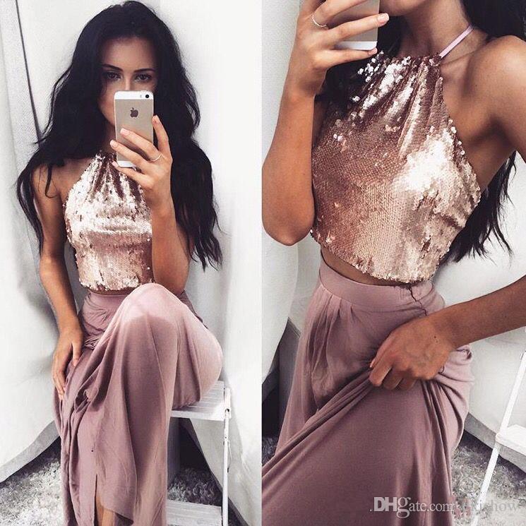 2017 sexy neckholder rose gold pailletten zwei stücke prom kleider sleeveless top elastischem satin lange abendkleider formelle kleidung nach maß
