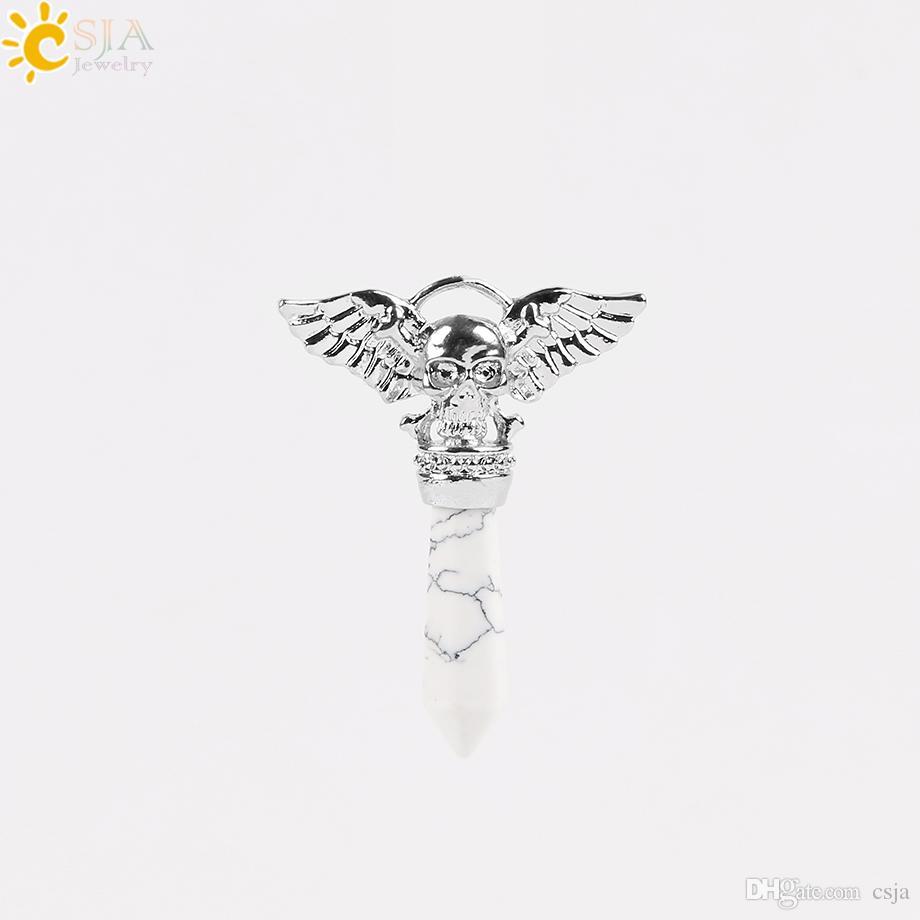 CSJA Biker Punk Skull Head Necklace Casting Pendants for Men Women Jewelry Natural Heal Semi Precious Stone Summer Fashion Collection E576 B