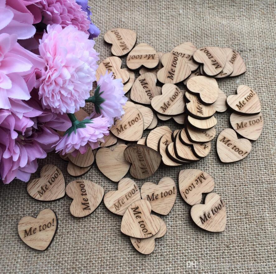 """Me too!"" Letter Wooden Button Beads For Table Ornaments Wedding Decoration Photography Props"