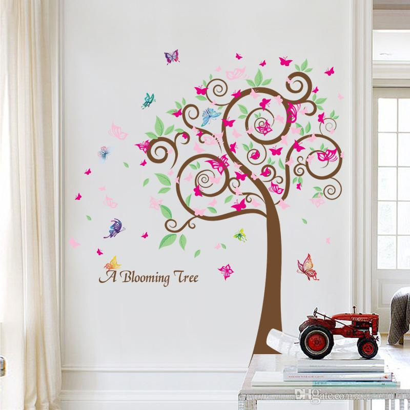 145cm x120cm kids growth chart height measure wall sticker good quality paster for diy kidu0027s room happy pink tree with powerful profession wall mural decals