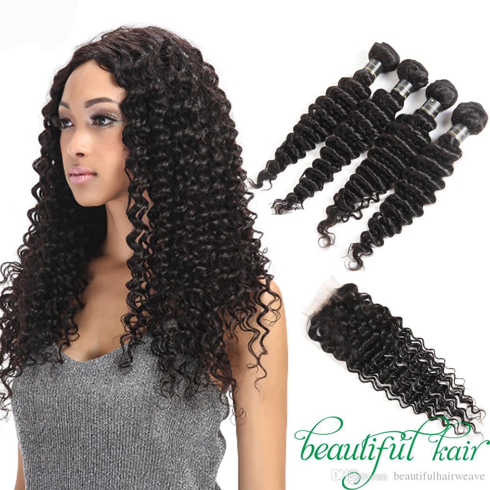 Brazilian Deep Wave 9a Virgin Hair With Closure Unprocessed Human