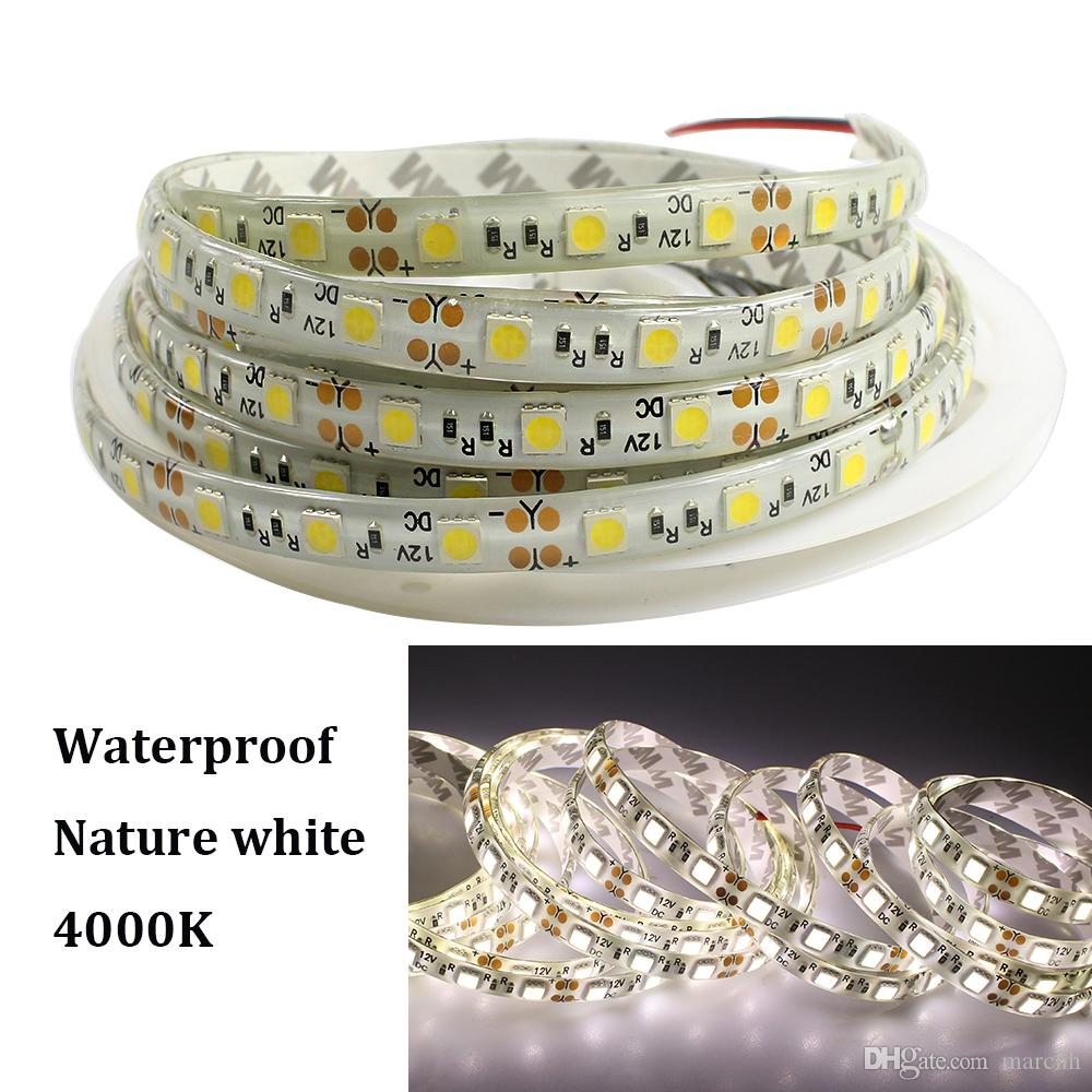 High brightness Nature white 4000K LED Strip Flexible Lights DC12V SMD 5050 5M 60led/M IP65 Waterproof led String Ribbon lamp