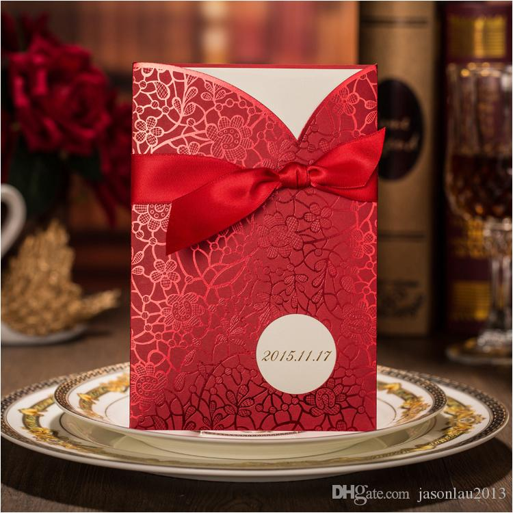 Flower Printing Wedding Cards Invitations with Ribbon 2016 Elegant ...