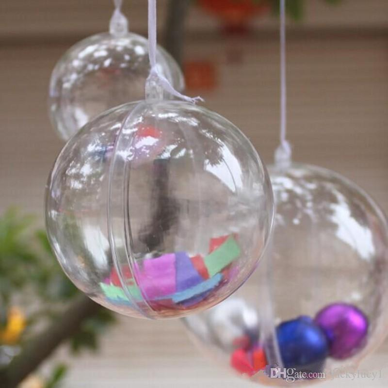 7cm dia clear plastic christmas ball wedding candy box xmas hanging ball ornament for party supplies christmas ball online with 079piece on jackylucy1s - Plastic Christmas Balls