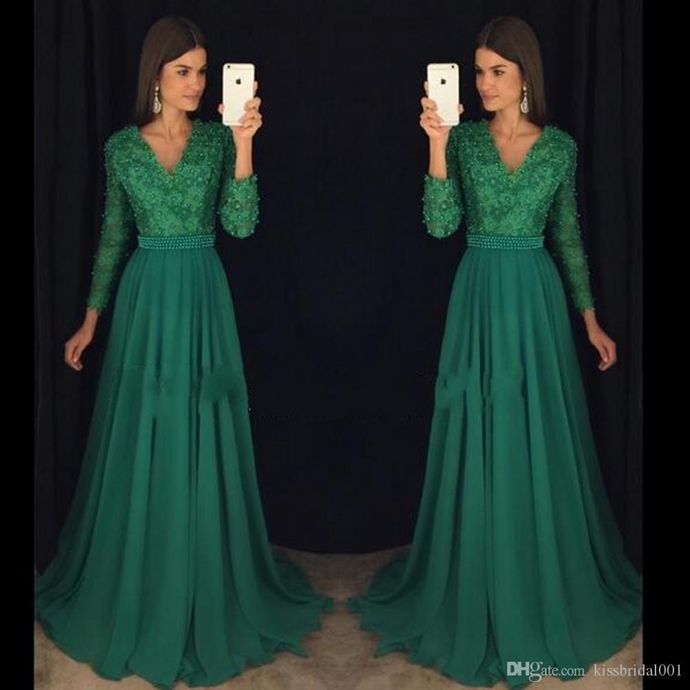 on sale 5a1df b9d73 Abiti da sera verde smeraldo Elegante chiffon bordato di telai lunghi abiti  da ballo con maniche lunghe scollo a V Sweep Abiti da sera
