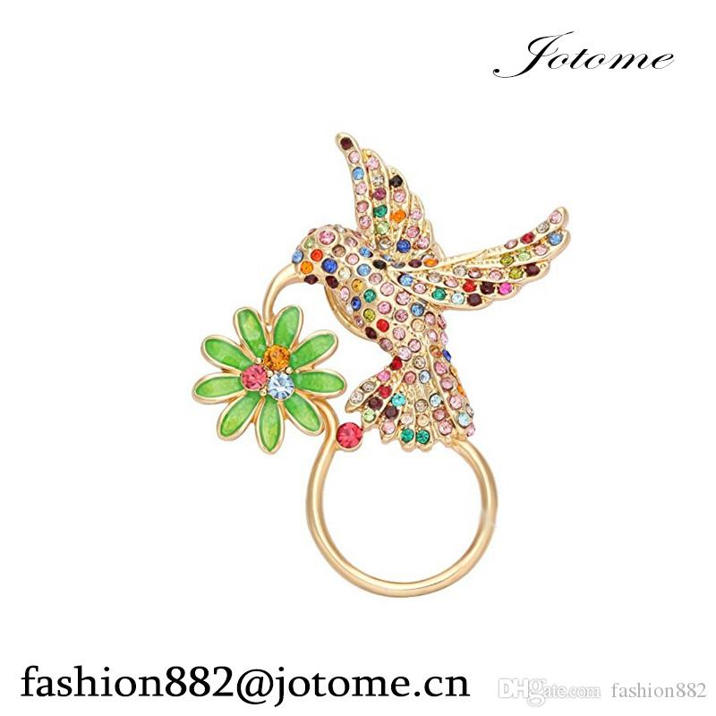 2017 China Wholesale Delicate Crystal Hummingbird Drinking Flower Nectar Badge Eyeglass Holder Brooch pin jewelry