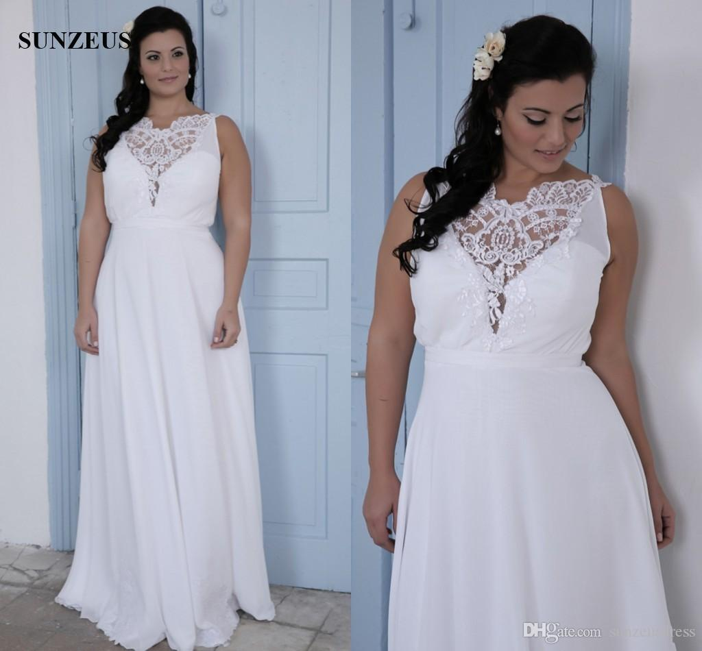 Discount Plus Size Wedding Dresses For Big Women Simple Chiffon Beach Bridal Gowns With Lace Top Robes De Mariage Red And White Sheath: Plus Size White Beach Wedding Dress At Websimilar.org