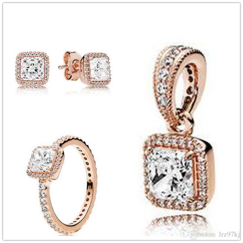 Best Rose Gold Plated Ring Earrings Jewelry Charms Pendant Sets