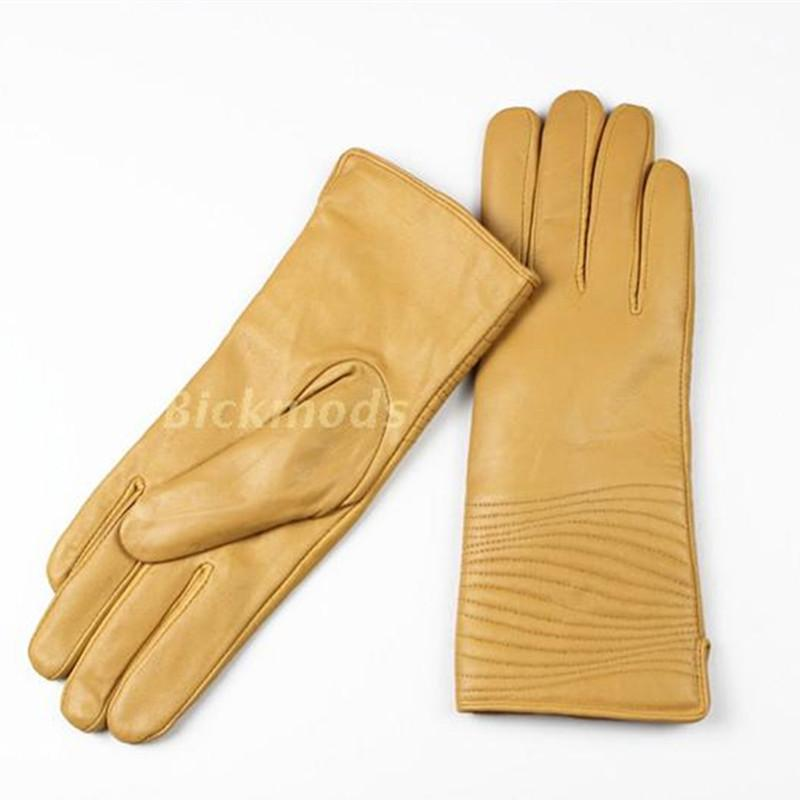 Wholesale- Gloves Guantes Mujer Short Paragraph Leather Gloves Female Sheepskin Geometric Style Velvet Lining Autumn And Winter Warmth