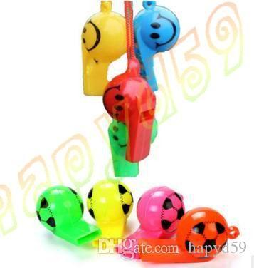 colorful soccer funny face kid fans whistle cheerleading children whistle foodball soccer ball whistles With rope