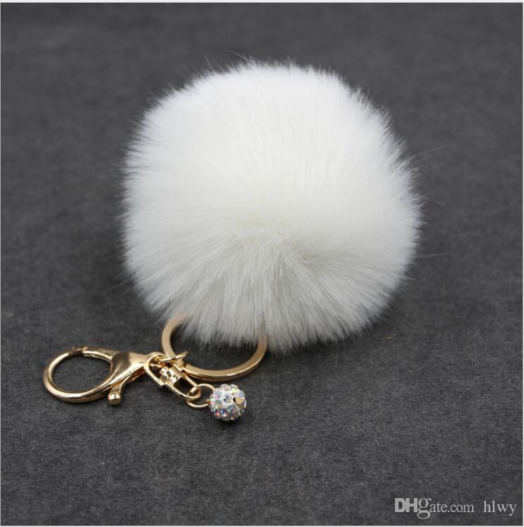 Gerçek Tavşan Kürk Topu Anahtarlık Yumuşak Kürk Topu Güzel Altın Metal Anahtar Zincirleri Topu Pom Poms Peluş Anahtarlık Araba Anahtarlık Çanta Küpe Aksesuarları