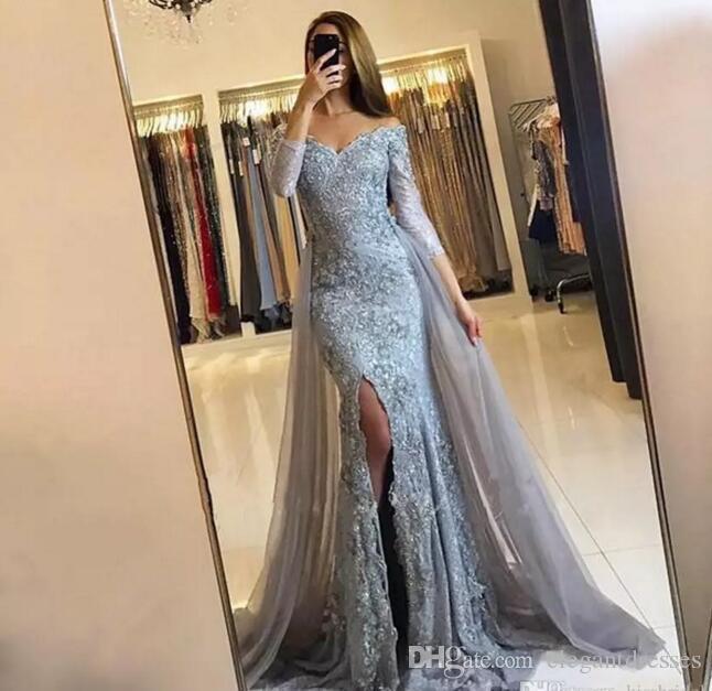 Dentelle argentée 2021 robes de soirée robes à manches longues manches à manches de bouchons de dilatation formelle arabe Dubaï sirène robe de bal
