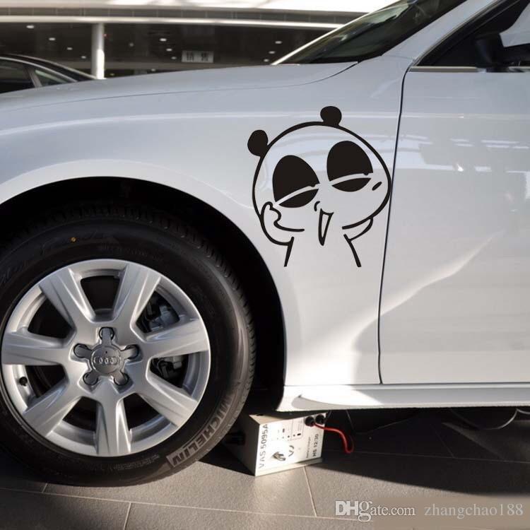 1 unid Automóvil Accesorio Exterior Panda Pegatinas de Coche 22 cm * 20 cm Panda de Dibujos Animados Expresión Divertida Etiqueta Engomada Del Coche Etiqueta de Auto Rasguños