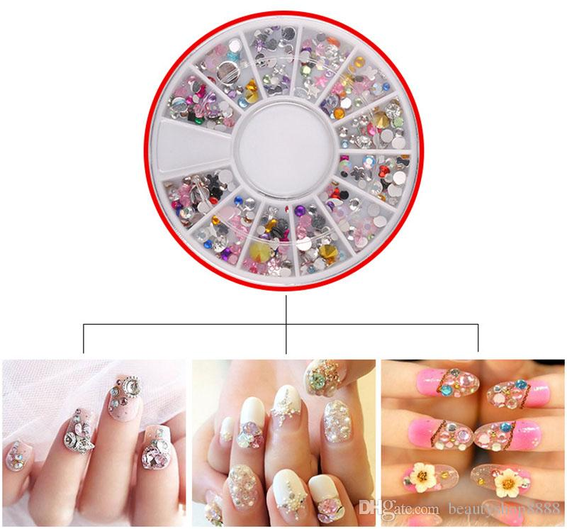 F409 New Style Nail Art Decoration In Wheel Mix Nail Studs Round Diy ...