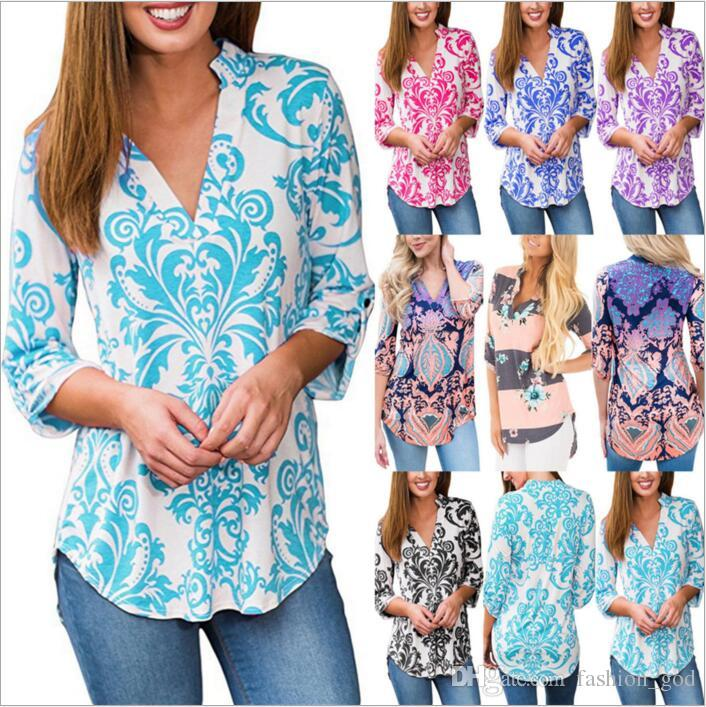 c44032de Paisley T-Shirt Women Long Sleeve Shirts Fashion Tops Casual Blouse V Neck  Tees Print Plus Size Shirt Floral Blusas Women's Clothing B2983