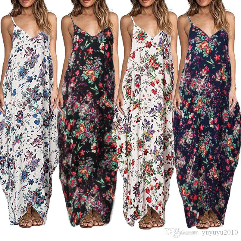 48934bed45 2017 Bohemian Summer Floral Print Long Dress Women Sexy V Neck Spaghetti  Strap Backless Beach Maxi Dresses Plus Size Vestidos ONY170723 Long Dresses  Maxi ...
