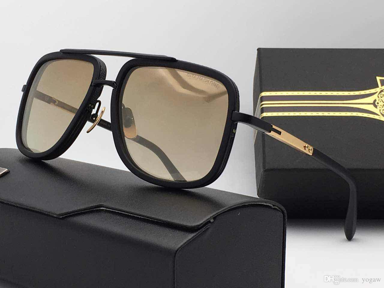 Мужчины Vintage Square Титановые Солнцезащитные очки 2030 Gold Brown Gradient Lenes Модные солнцезащитные очки очки с Box Case