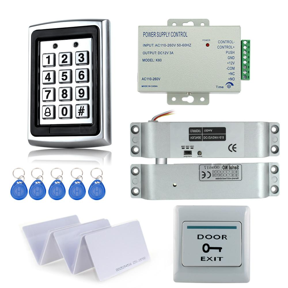 Original Free Shipping Full Set With Electric Bolt Lock+keypad+power Supply+exit Switch+keys Door Access Control System Kit Access Control Kits Access Control