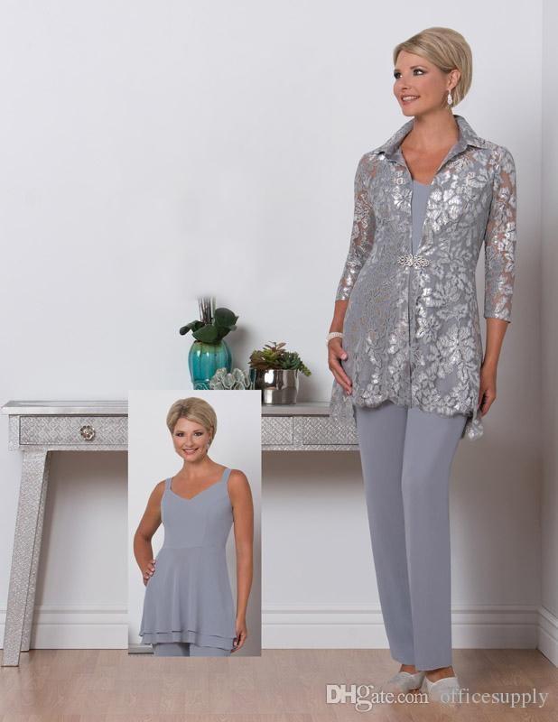 2018 Leylak Üç Adet Anne Gelin Artı Boyutu Pantolon Takım Elbise Taraklı Boyun Anneler Dantel Ceket Örgün Akşam elbise ile Suit