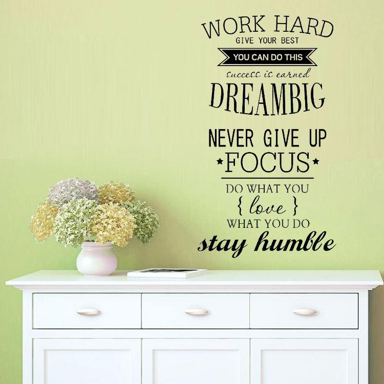 Perfect 4055 Work Hard Motivation Wall Decals Office Room Decor Never Give Up Dream  Big Inspirational Quote Wall Stickers Decals For Walls Decals For Walls  Quotes ...