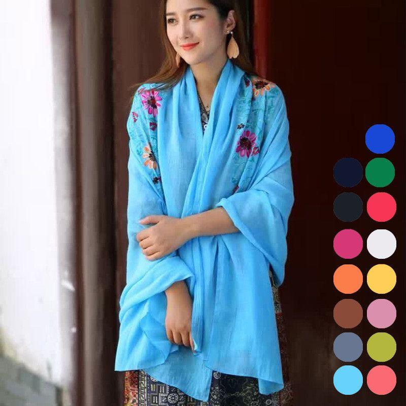 b4330495d70 Wholesale- Women s Autumn Winter Multifunctional Scarf National Embroidery  Sarong Wrap Shawl Scarf Large Long Stole Scarf 180 90CM Bufanda Wrap Shawl  Scarf ...