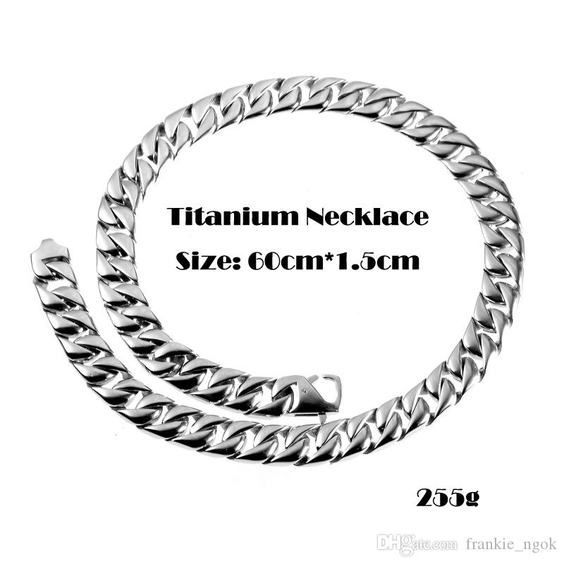 High Quality Real Titanium Wrsitband Jewelry High Polished Heavy Curb Cuban Link Necklace For Men Exaggerated Punk Chain 60cm*1.5cm