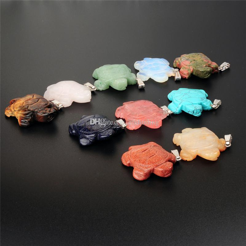 New Natural Quartz Crystal Pocket Stone Cute Sea Turtle Tortoise Figurines Chakra Healing Carved Gemstone Crafts Pendant Lucky Gift 41*32mm