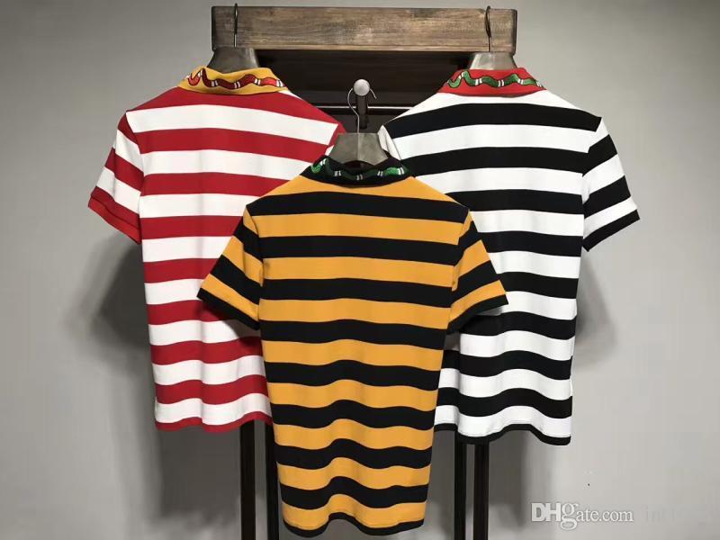 2017 여름 브랜드 뉴 남성 폴로 셔츠 뱀 줄무늬 자수 꿀벌 남자 반팔 셔츠 브랜드 셔츠 남성 셔츠 폴로 셔츠