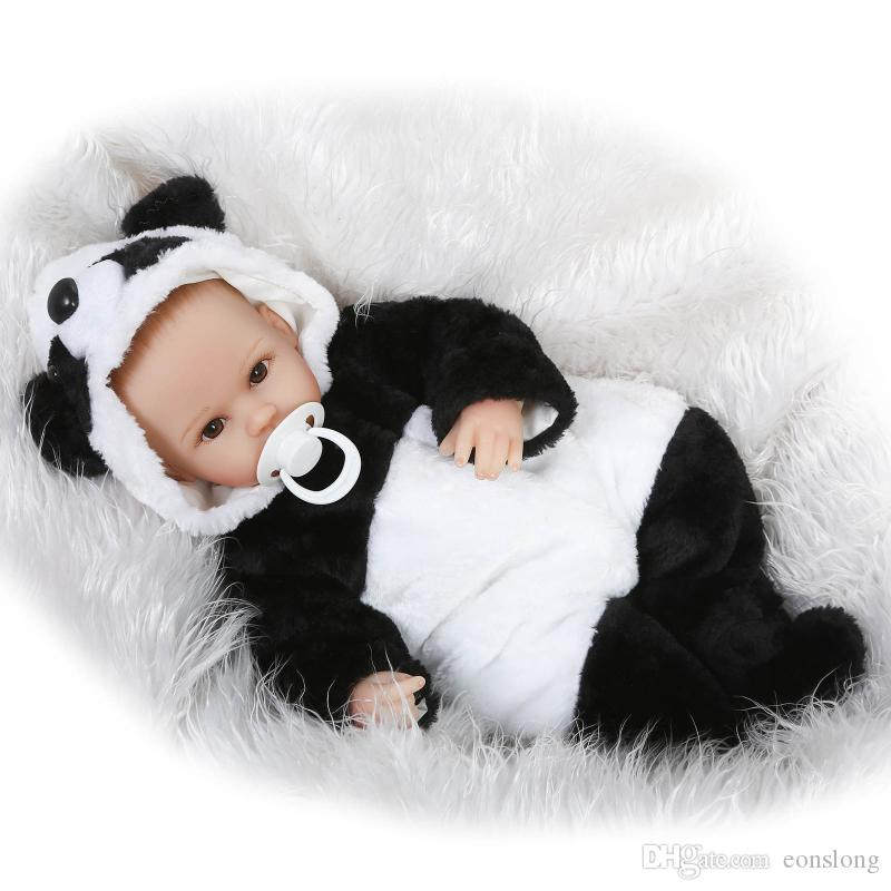 """Lifelike Handmade Painting Hair 17"""" Lovely Baby Doll Soft Vinyl Reborn Newborn Baby Gifts in Panda Outfit"""