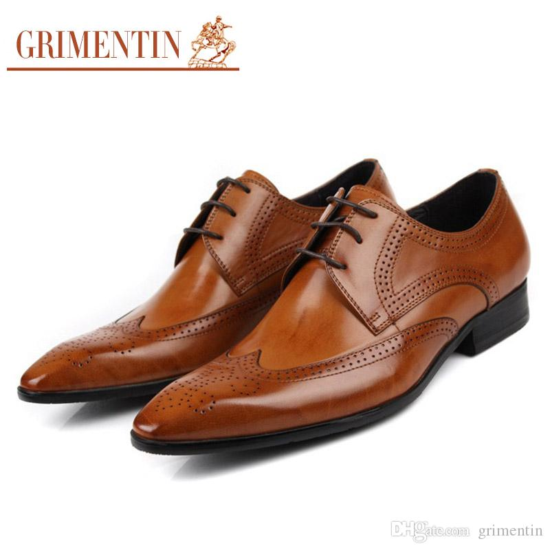 GRIMENTIN Hot Sale Brand Oxford Mens Dress Shoes Genuine Leather Tan Black  Brown Italian Fashion Business Male Shoes 2017 Size 38 45 N10 Cheap Heels  Comfort ... 5b193ae81f65