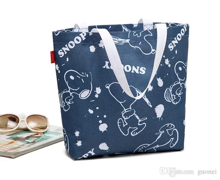 2017 горячие продажи Бесплатная доставка джинсовой синий Snoopy водонепроницаемый холст многоразовые сумки
