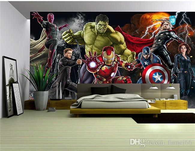 Avengers Photo wallpaper Custom 3D wallpaper for walls Hulk Iron man Captain America Wall mural Boys Bedroom Living room Restaurant Designer