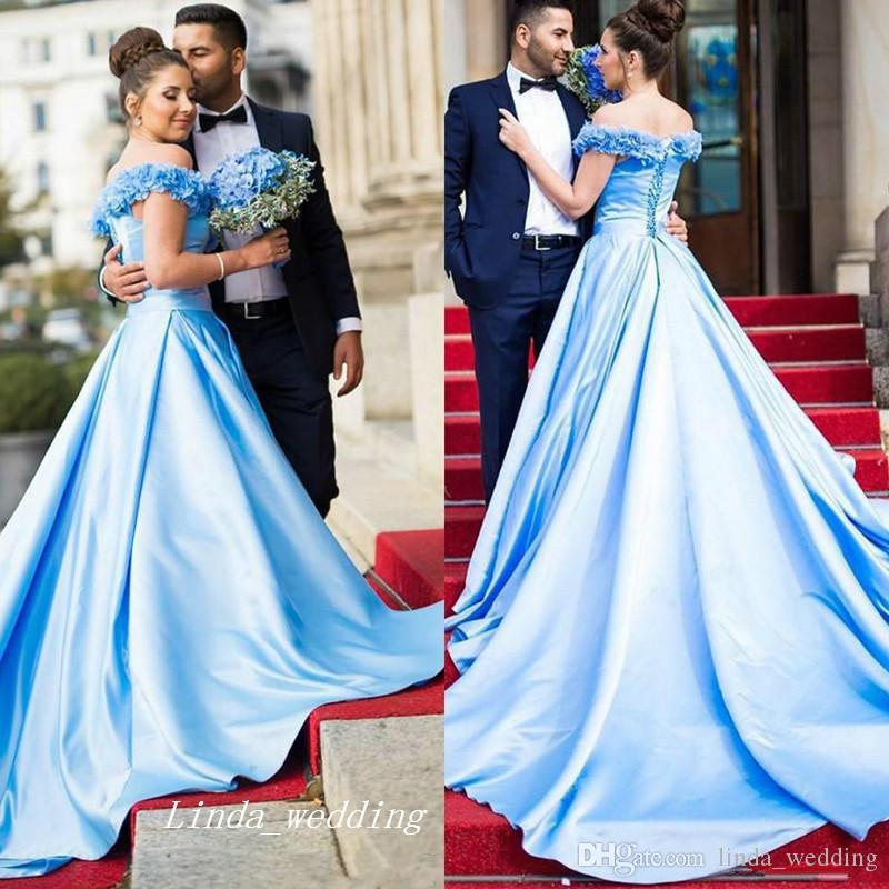 7e41b838b4d 2017 Long Fancy Prom Dress Light Blue Off Shoulders Backless Corset Back  Dubai Arabic Formal Pageant Party Gown Custom Made Plus Size Sequin Prom  Dresses ...