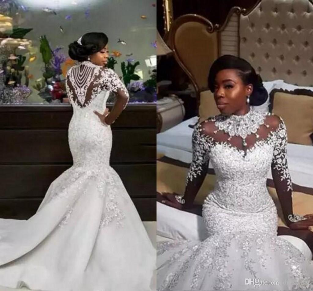 3fd7dea6ad Luxury 2018 African Mermaid Wedding Dresses Long Sleeve Sexy Sheer High  Neck Sparkle Beads Lace Satin Nigerian Chapel Bridal Gowns Plus Size