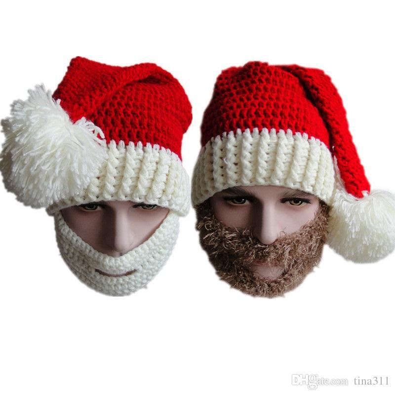 Crochet Hat Beard Christmas Hat Handmade Santa Cap Beard Mask Wool ...