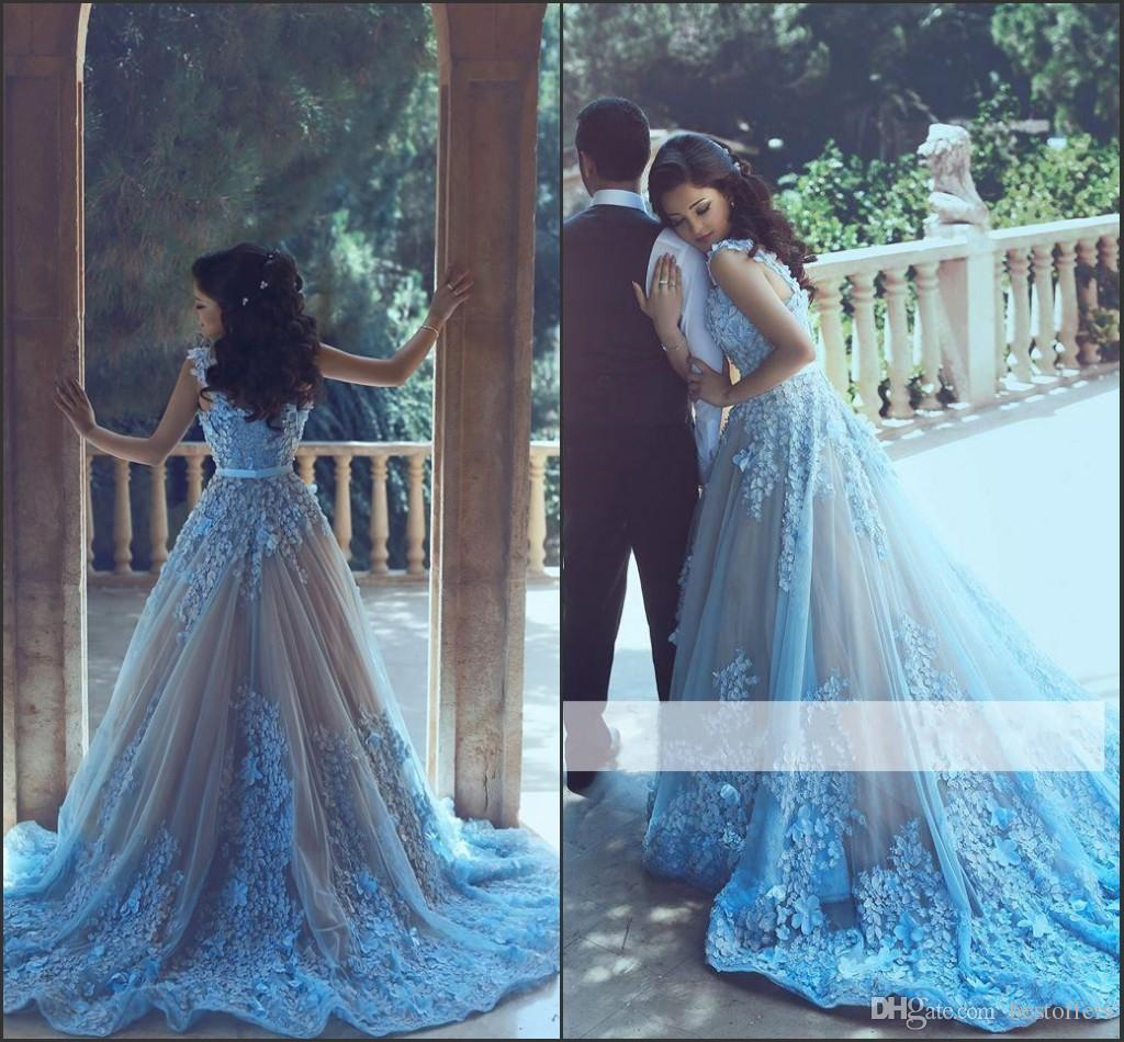 Ice Blue Luxury Appliques 3D-Floral Evening Gowns 2017 A-Line Prom Dresses Court Train Red Carpet Gowns Collection by Said Mhamad