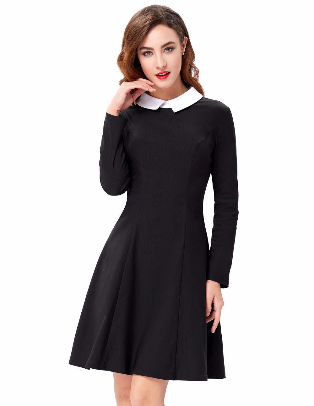 Wholesale Womens Sexy Elegant Winter Fashion Women Stylish Slim Fit Long Sleeve Contrast Color Doll Collar A-Line Dress Bodyco