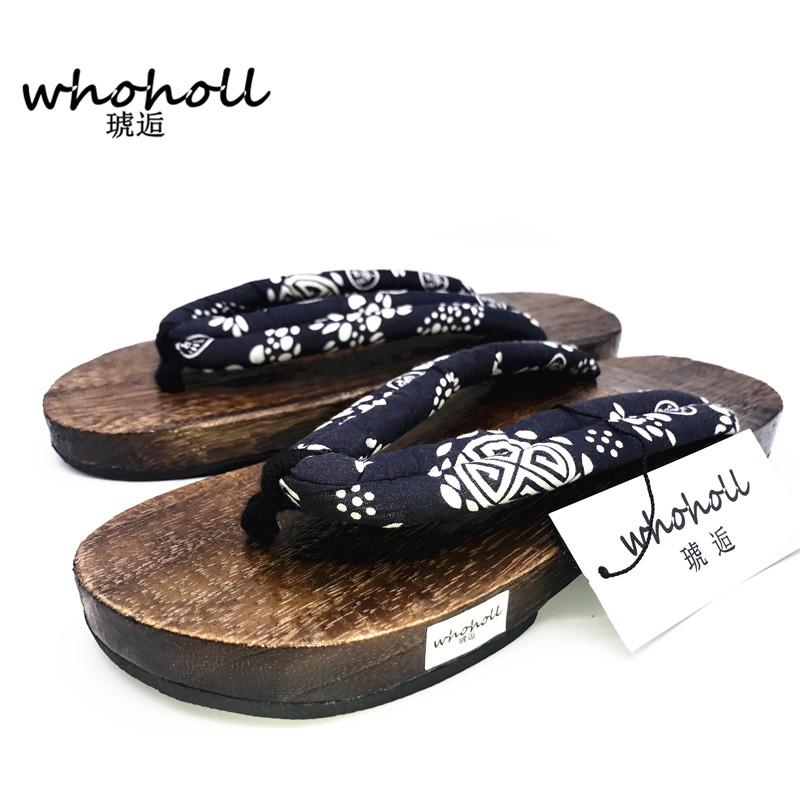 WHOHOLL Summer Japanese Geta Clogs Flip-flops Man Sandals Paulownia Wooden SlippersMan Sandals Paulownia Wooden Slippers