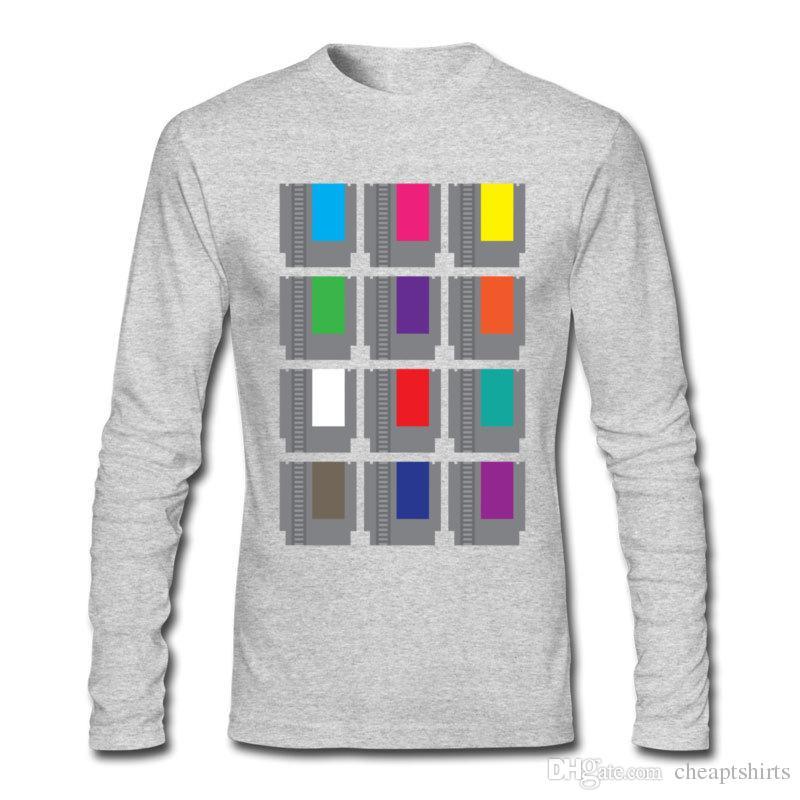 Fashionable men's T-shirt modern film printed sport shirts for man plain cotton long sleeve pullover wholesale 8-BIT Cartridges