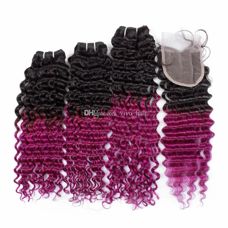 8A Indian Deep Wave Virgin Hair Ombre 3 Bundles with Lace Closure 2 Tone 1B Pink Ombre Curly Hair Weaves with Top Closure