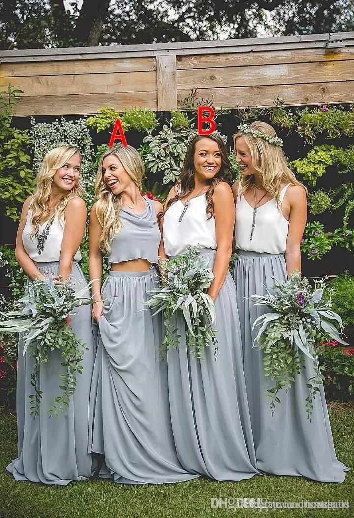 11512f9a8 Two Piece Long Bridesmaids Dresses 2017 A Line Floor Length Boho Chiffon  Junior Bridesmaid Dresses Long Maid Of Honor Dress Unique Bridesmaid Dresses  Brides ...