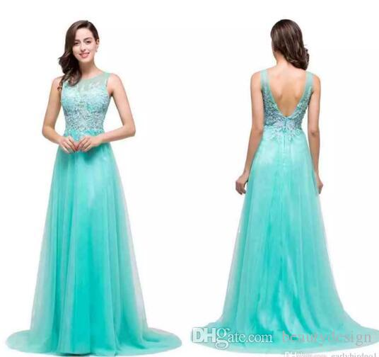 2017 New Mint Lace Tulle Bridesmaid Dresses Jewel Sheer A Line ...