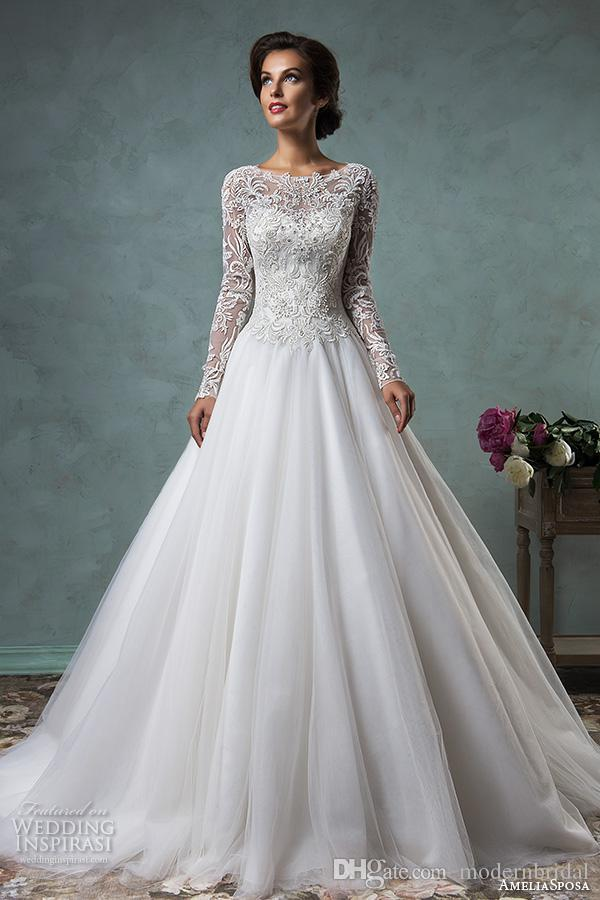 Großhandel Langarm Vintage Brautkleider 2017 Amelia Sposa 3d Spitze ...