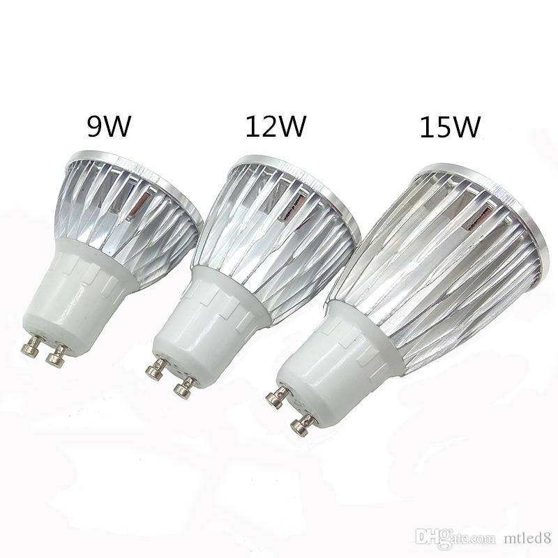 Led ışıkları 9 W 12 W 15 W COB GU10 GU5.3 E27 E14 MR16 Dim LED Spor işık lambası Yüksek Güç ampul lambaları DC12V AC 110 V 220 V 240 V ampuller